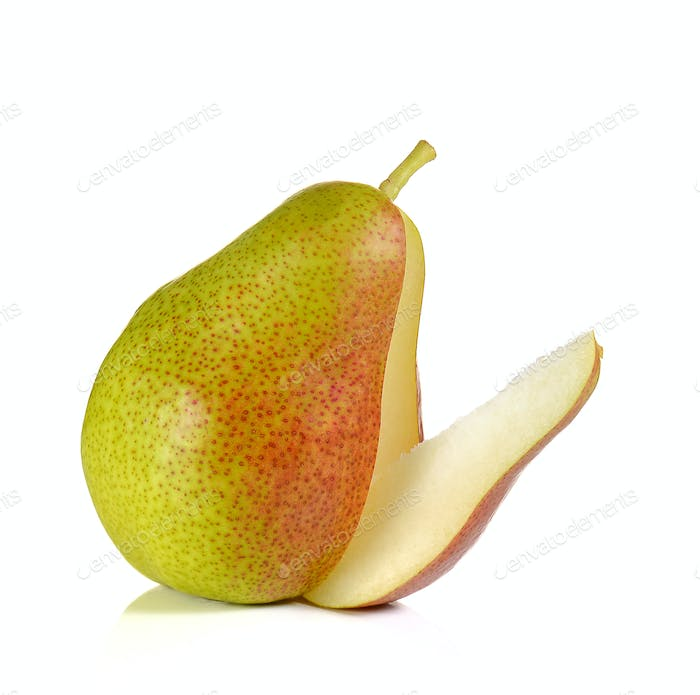 Red pears cut pieces on white background.