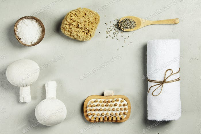 Spa Concept. Top view of beautiful Spa Products.