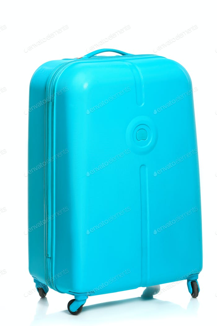 The modern large suitcase on white background