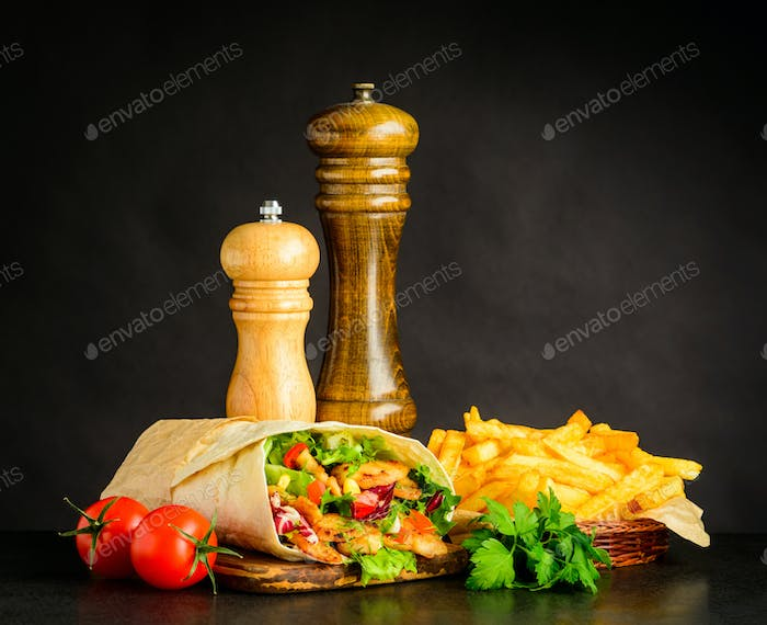 Shawarma with French Fries and Tomato