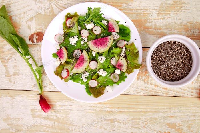 Fresh Watermelon Radish salad . Vegan, vegetarian, clean eating, dieting, food concept.