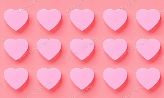 Flat Lay of Hearts on Pink Background