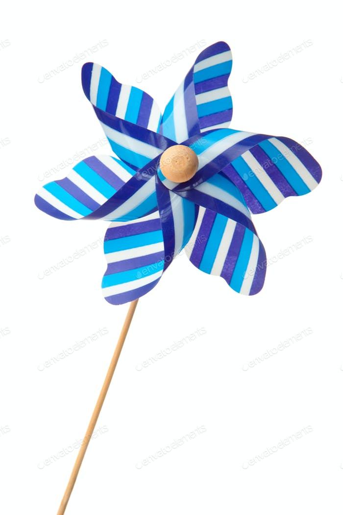 Blue pinwheel against a white background