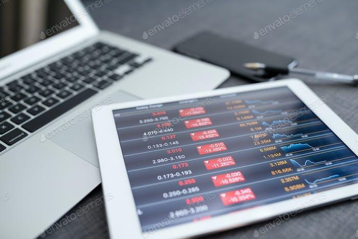 Stock market data application on a digital tablet