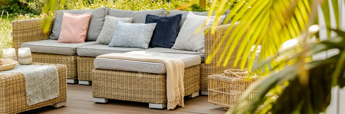 Big terrace with furniture