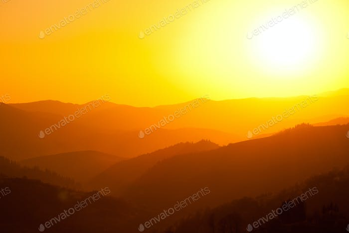 Sunset landscape over mountains