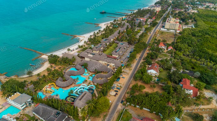aerial view of the beach resort, city of Dar es Salaam