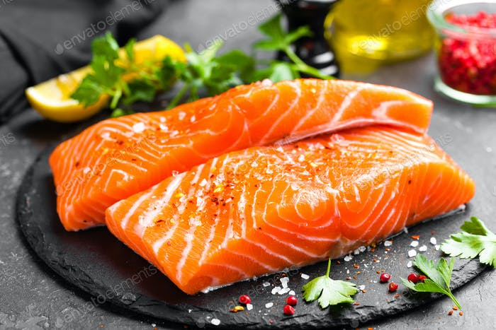 Thumbnail for Salmon. Fresh salmon fish. Raw salmon fish fillet
