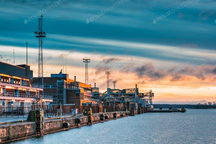 Helsinki, Finland. View Of Ferry Terminal Kauppatori On Sunrise