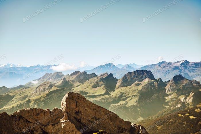 Saentis Mountain landscape, Swiss Alps