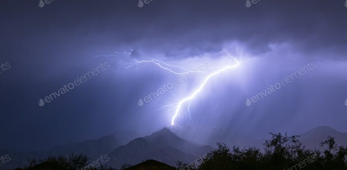 Spectacular Electrical Storm Lightning Bolt Mount Wrightson Valley Arizona