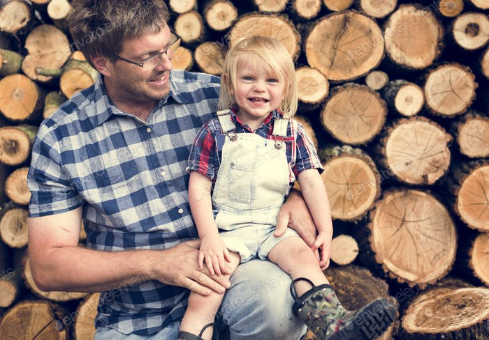 Father Kid Leisure Firewood Trunk Concept