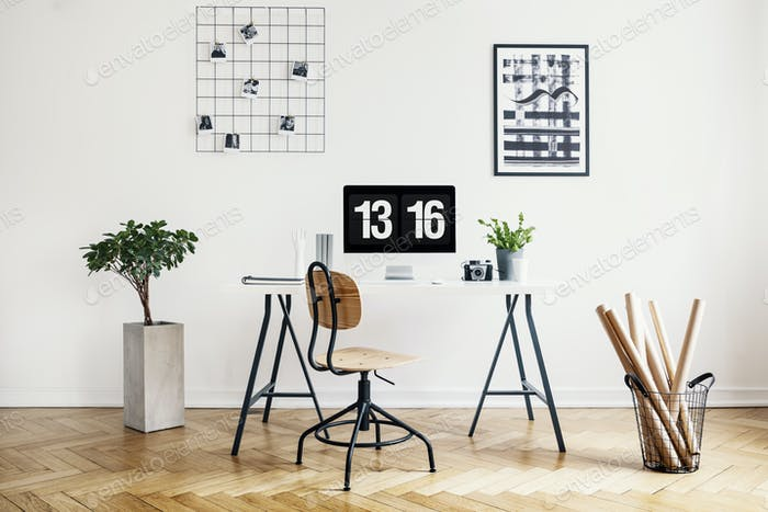 Real Photo Of A Simple Home Office Interior With A Desk Chair Foto New Home Office Interior