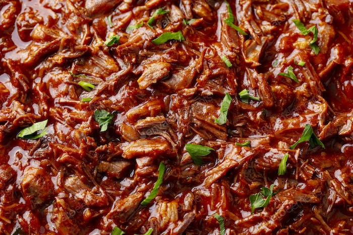 Beef shredded meat with sauce. Close up.
