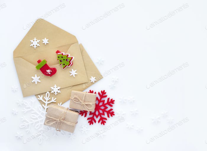 Christmas, happy new year composition. Christmas gifts, envelope