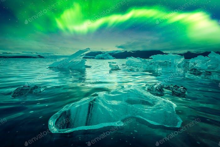 Northern lights over Jokulsarlon Glacial Lagoon