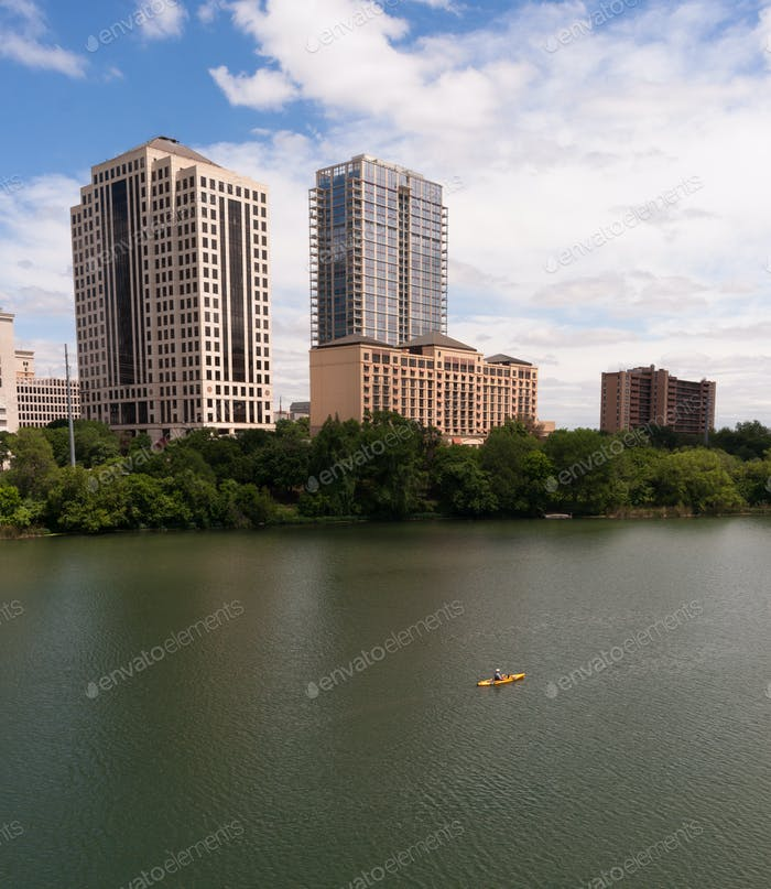 Yellow Kajak Austin Texas Downtown City Skyline Colorado River