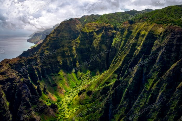 Landscape view of Na Pali coastline cliffs in dramatic style, Kauai, Hawaii