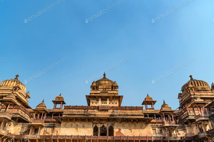 Outside view of Jahangir Mahal or Raja Palace Inside Orchha Fort Complex