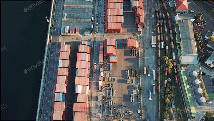 Sea port from a bird's-eye view. Odessa, Ukraine