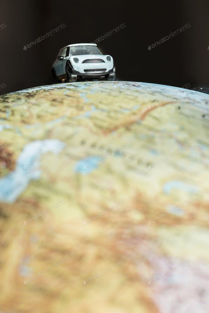 Car on globe