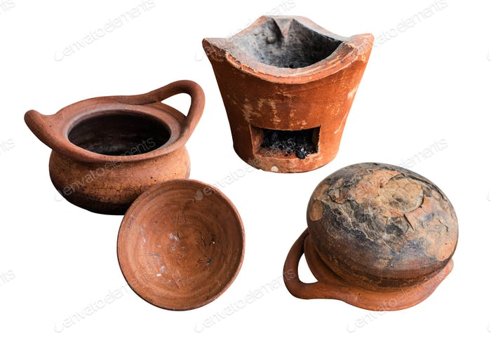 clay pot on a white background