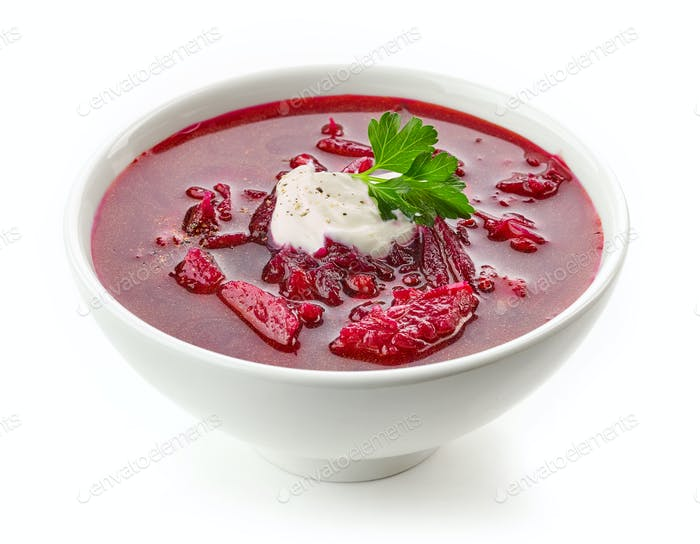 bowl of beet root soup borsch