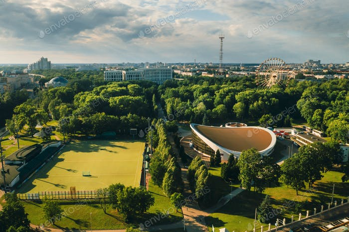 Sports ground and sports complex in the city's Gorky Park in Minsk.Soccer field and hockey