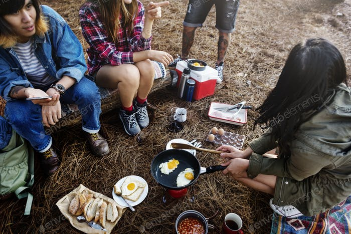Camping Breakfast Cooking Meal Resting Travel Concept
