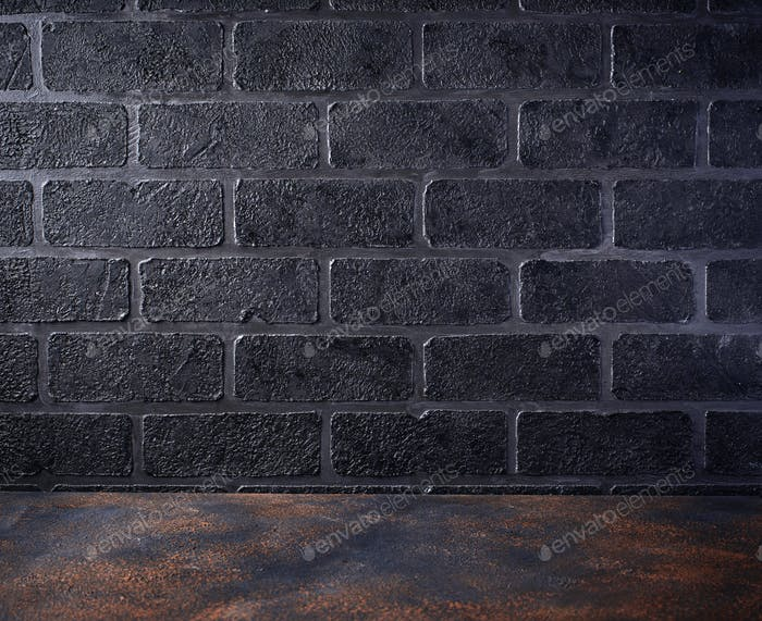 Empty table and  brick wall background