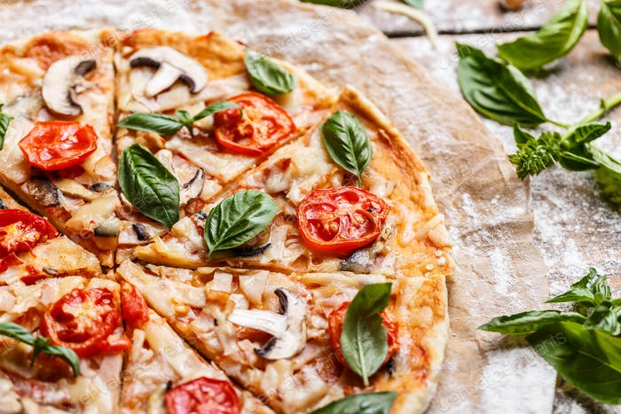 Composition of tasty pizza