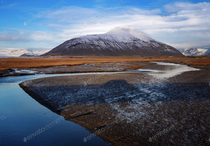 Curve river lead to the mountain, Iceland, Europe