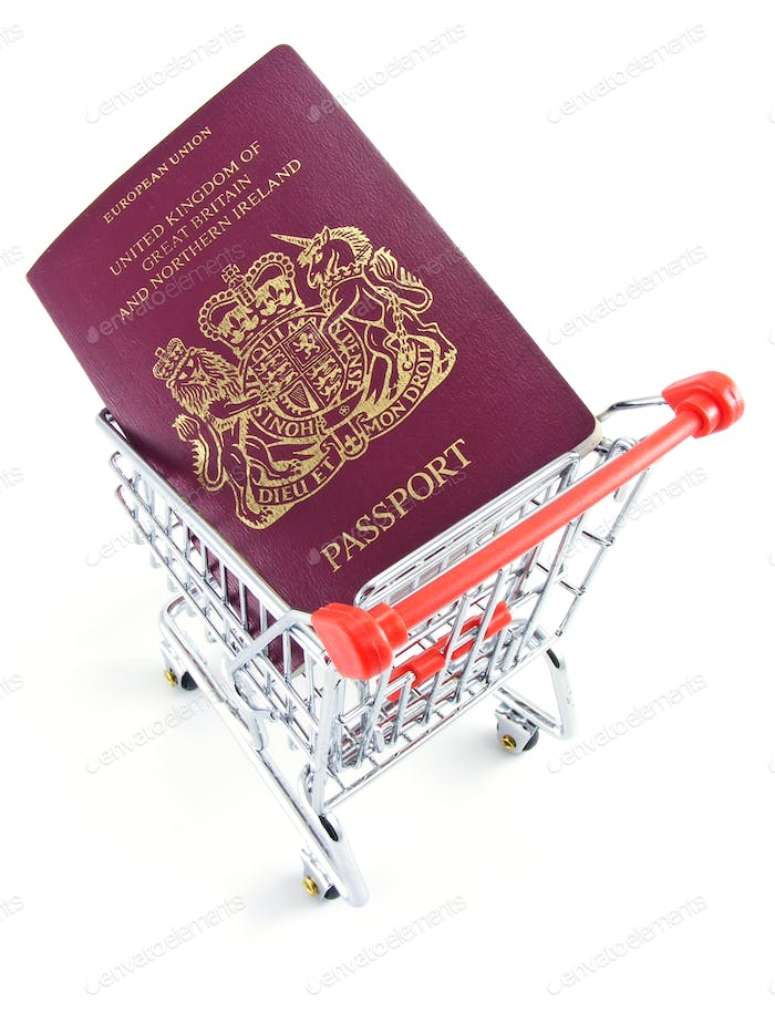 British Passport in Shopping Trolley