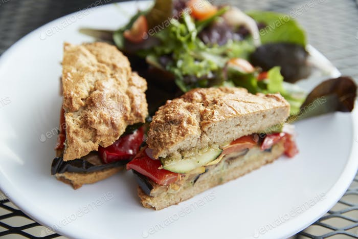 Healthy Vegetarian Sandwich On Plate In Coffee Shop