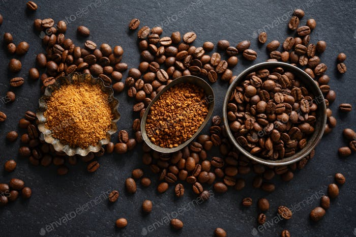 Coffee concept with coffee beans and sugar