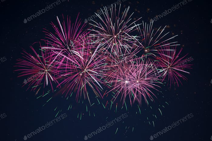 Sparkling maroon red pink celebration fireworks