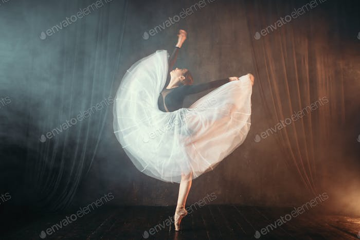 Ballet dancer in motion on the stage in theatre
