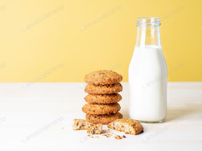 Chocolate oatmeal cookies and milk
