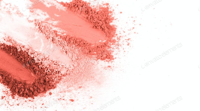 Smears of crushed pink blusher