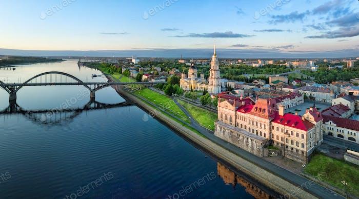 Aerial cityscape of Rybinsk on sunrise