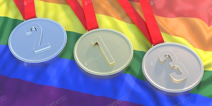 Medals gold, silver and bronze on LGBT flag. 3d illustration