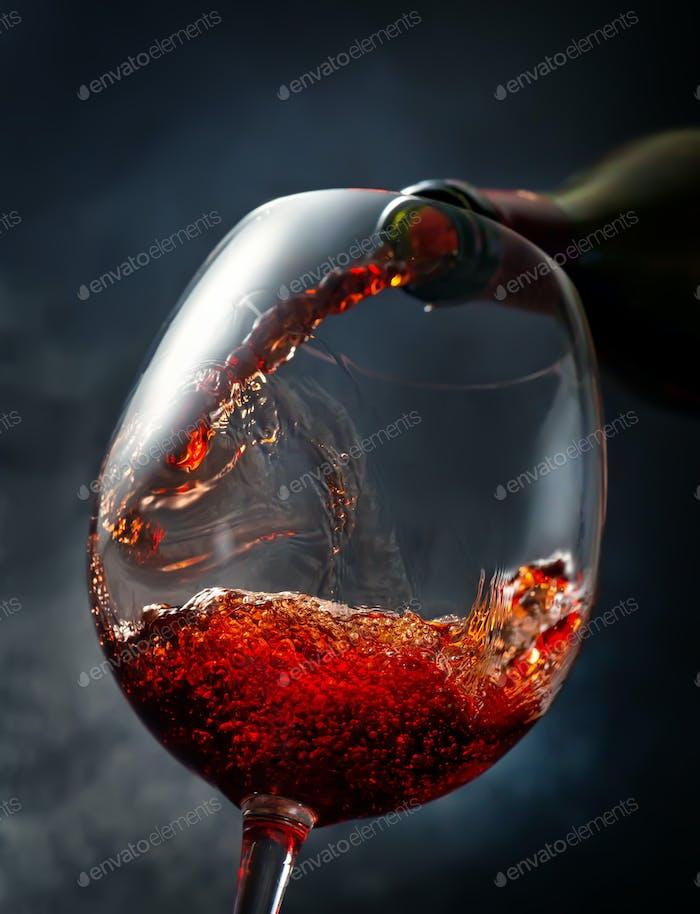 Wine on smoky background