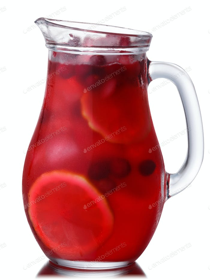 Iced cranberry lemon drink pitcher, paths