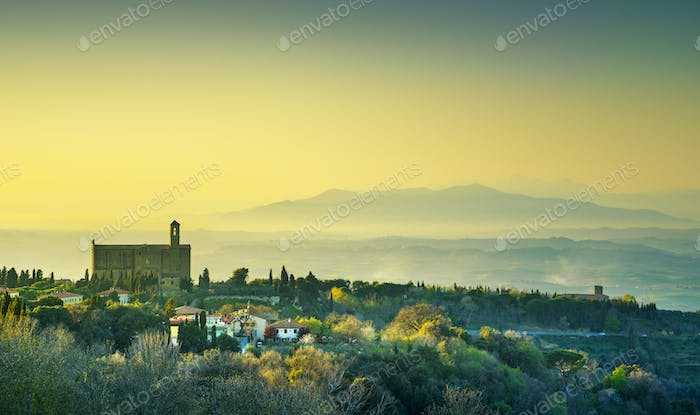 Tuscany, Volterra panoramic view and San Giusto Nuovo church at
