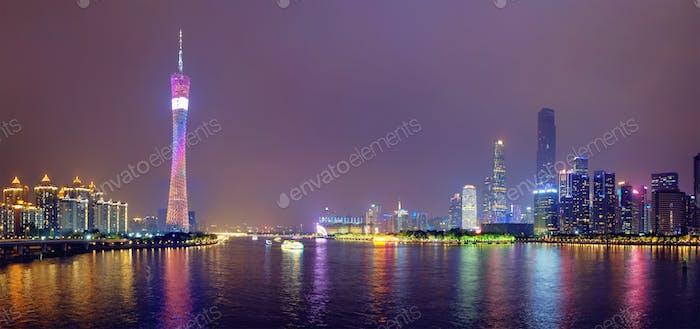 Guangzhou skyline. Guangzhou, China