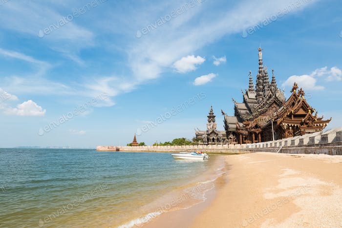 Thailand Landschaft des Heiligtums der Wahrheit