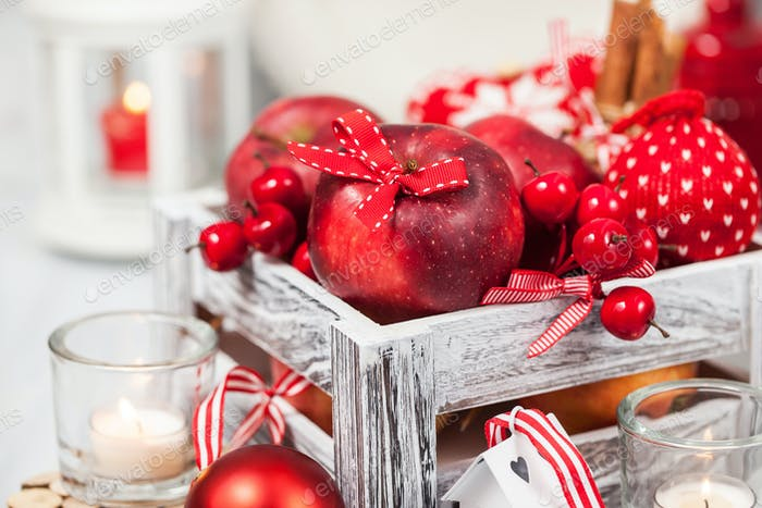 Holiday Christmas composition with red apples