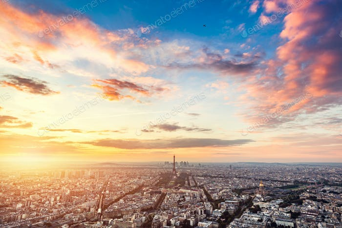 Paris, France at sunset.