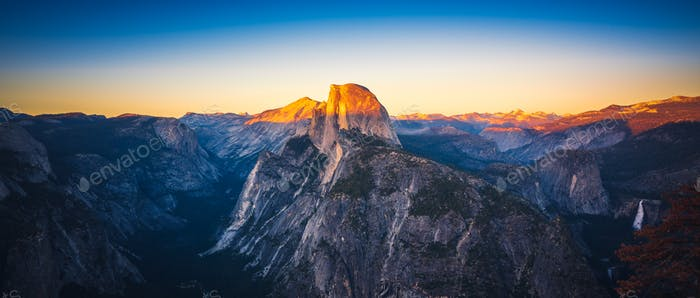 Panoramic Sunset View of Half Dome from  Glacier Point in Yosemi