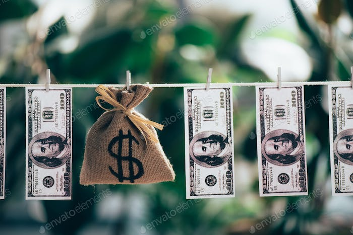 sackcloth bag with dollar sign and dollar banknotes hanging on rope